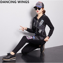 Herbst Frauen Trainingsanzug Zwei Stück Set Denim Hoodies Jacke + Jeans Hosen Casual frauen Sportswear Sweatershirt Anzug
