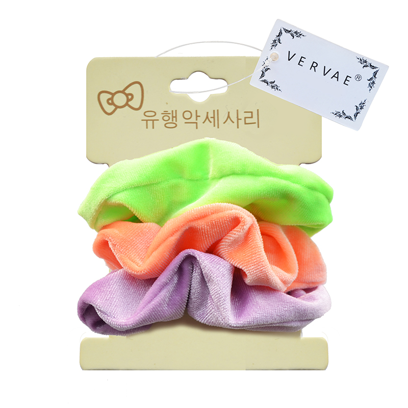 3 Pcs Neon Scrunchie Pack For Girls Hair Accessories Kids Elastic Hair Bands Headwear Women Velvet Scrunchies Set 2019 VERVAE