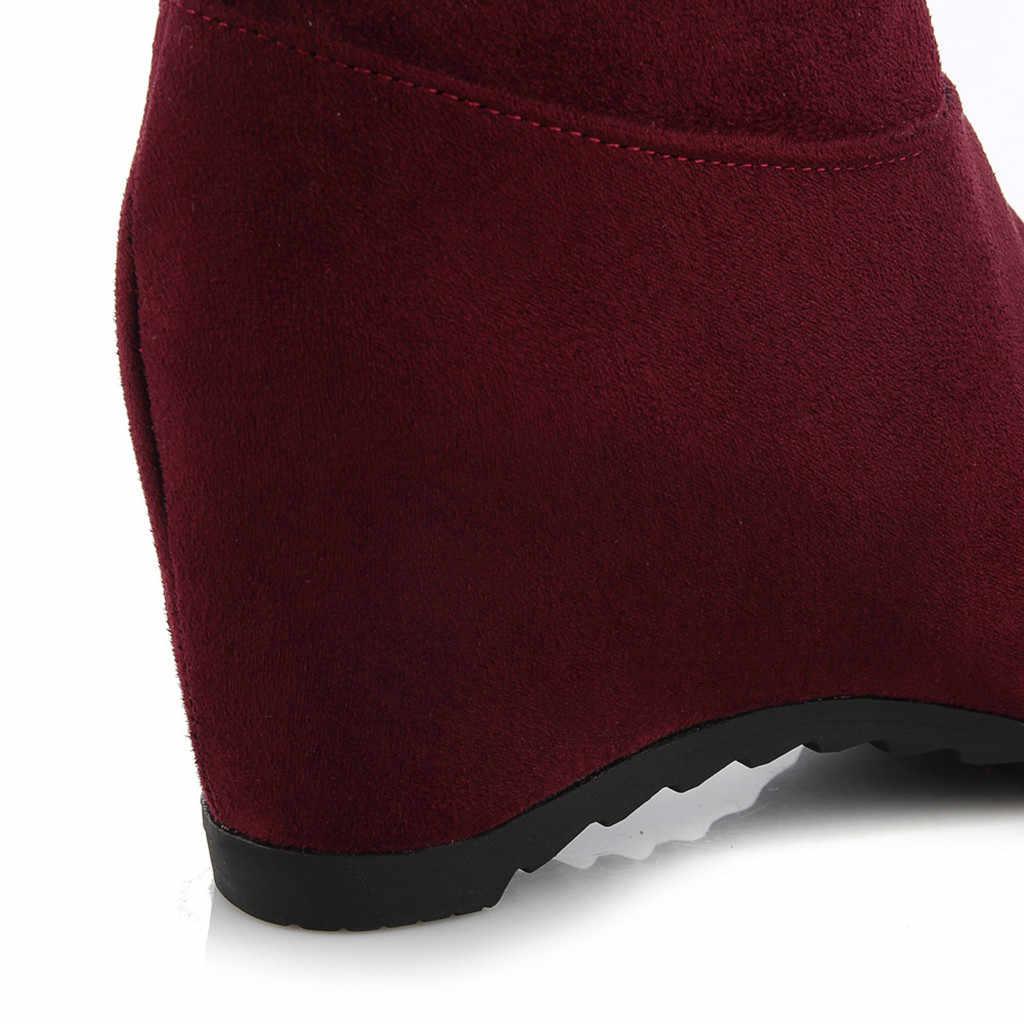 Suede over de knie laarzen Wiggen Veelzijdige Kant dij hoge laarzen herfst winter Warm Houden Lange Buis schoenen vrouw botas mujer