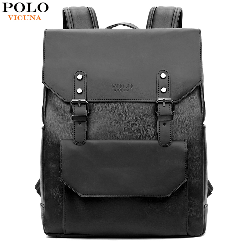 VICUNA POLO Casual Black Leather Backpack Men Laptop Backpack Double Belt Promotion Brand Travel Man Backpack Men Casual Daypack