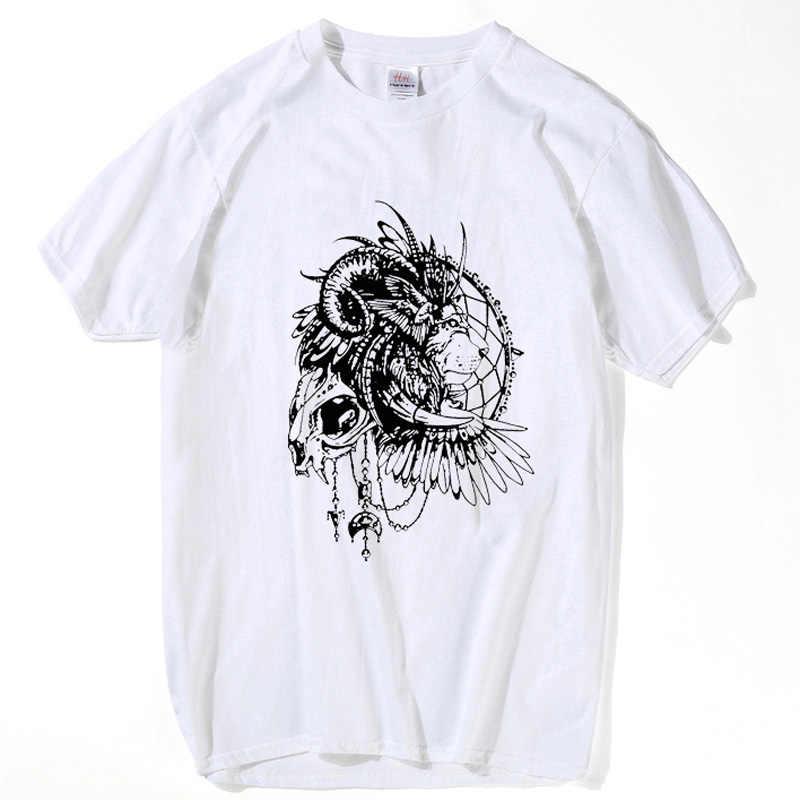 HanHent الملك الرجال الهيب هوب الجمجمة قميص الرجال تي شيرتات قصيرة الاكمام غنيمة روك التي شيرت أوم الملابس الأبيض تي شيرت أسود TH5259