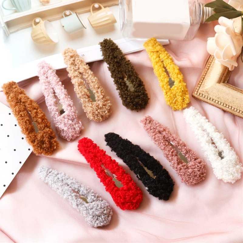 韓国虹冬のヘアクリップヘアアクセサリー BB ヘアピンファッションキャンディーカラーメタルソフト毛皮バレッタ卸売