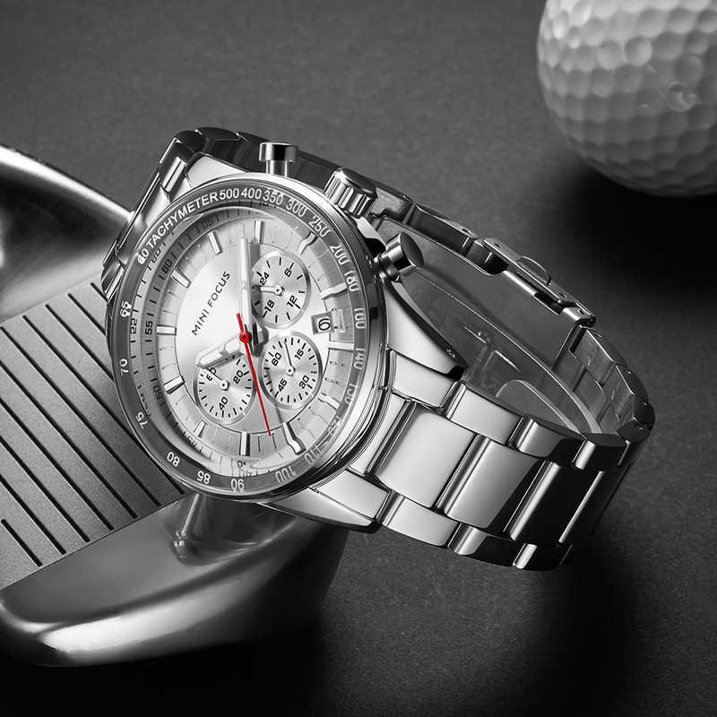 MINI FOCUS hommes montre à Quartz bracelet en acier inoxydable multifonction calendrier sport hommes montres de luxe marque Relogio Masculino 2019