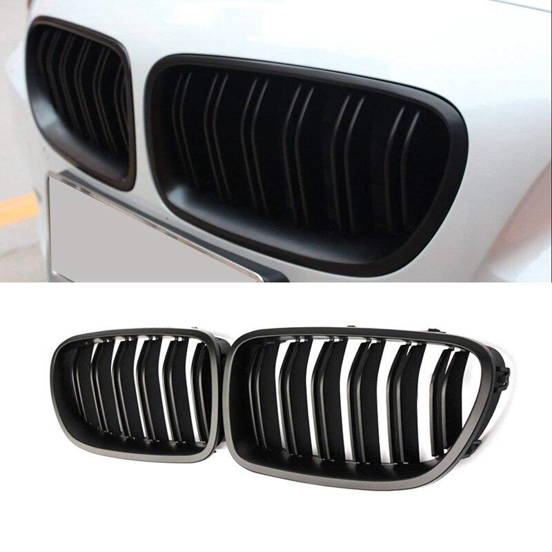 1 paire Double lamelle ligne pare-chocs avant gril capot rein Grille Grille pour 2010-2017 BMW série 5 F10 F11 F18 M5 (noir mat)