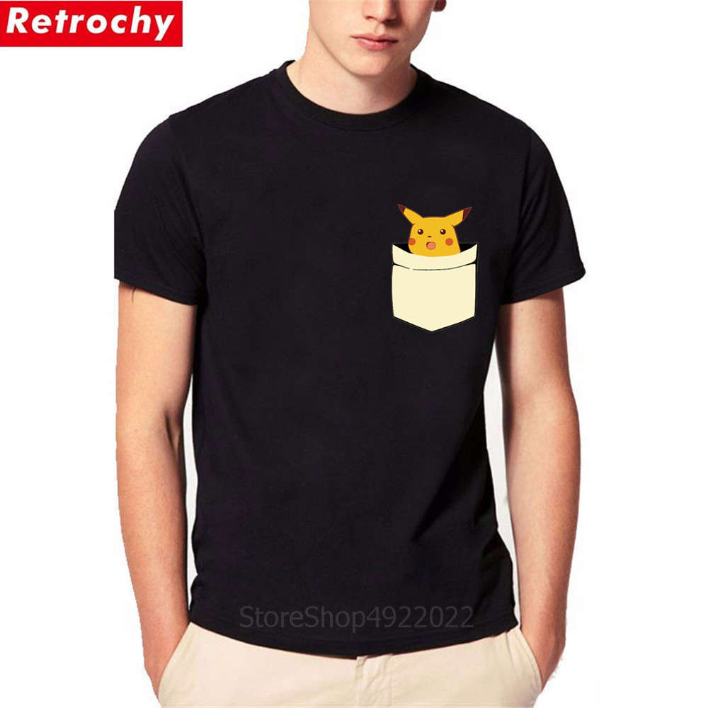 Surprised Pikachu Pocket T-shirts Summer New Anime Pika Men Women T Shirt Boys Short Sleeves Cartoon Tshirt Funny Birthday Gifts