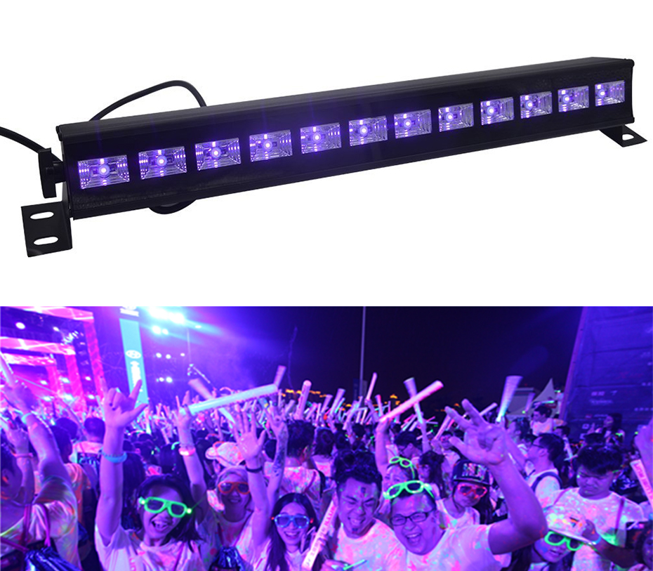12 LED Disco UV Violet Black Lights DJ 36W Par Lamp UV For Party Christmas Bar Lamp Laser Stage Wall Washer Spot Light Backlight image