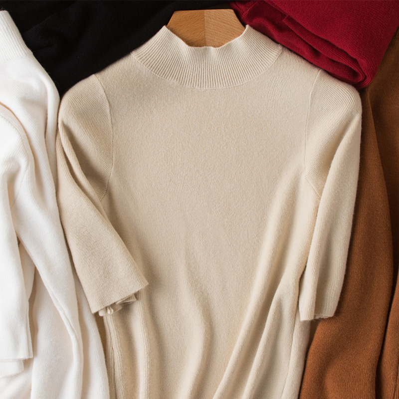 High-quality Cashmere Pullover Knitted Half Sleeve Turtleneck Skinny Cashmere Solid Cashmere Sweater Women Simplee Apparel S-XXL