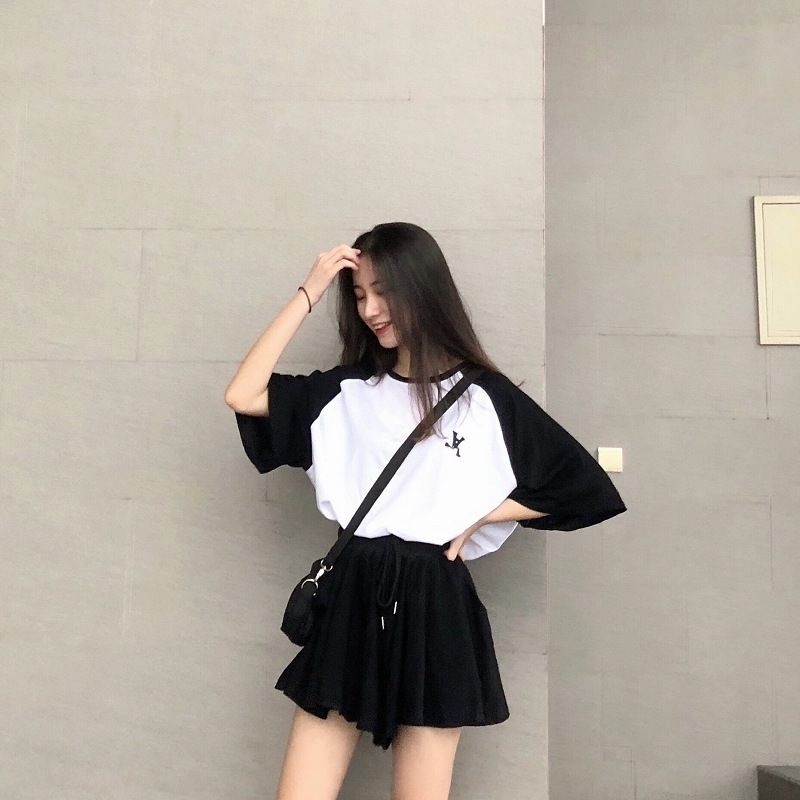 2019 Summer New Style WOMEN'S Suit Korean-style Loose-Fit Shorts Fashion & Sports T-shirt Tops Two-Piece Set