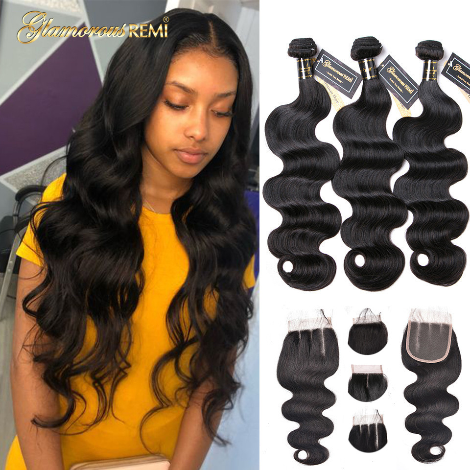 Brazilian Hair Body Wave 3 Bundles With Closure Human Hair Bundles With 4x4 Closure Lace Closure Remy Human Hair Extension 1b