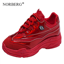 NORBERG2019 summer new sports shoes women comfortable breathable mesh casual red
