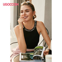 UGOCCAM BlacK Tank Sexy Women Crop Solid Top Women Strappy Top Streetwear Summer Sleeveless Beach Women Sports Top Haut Femme(China)