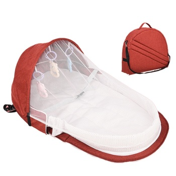 Portable Bed With Toys For Baby Foldable Baby Bed Travel  Sun Protection Mosquito Net Breathable Infant Sleeping Basket 1