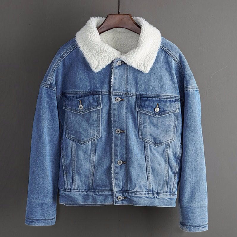 2019 New Winter Warm Fur Jeans Jacket Women Bomber Jacket Blue Denim Jacket Female Coat With Full Warm Lining & 2 Pockets Jacket