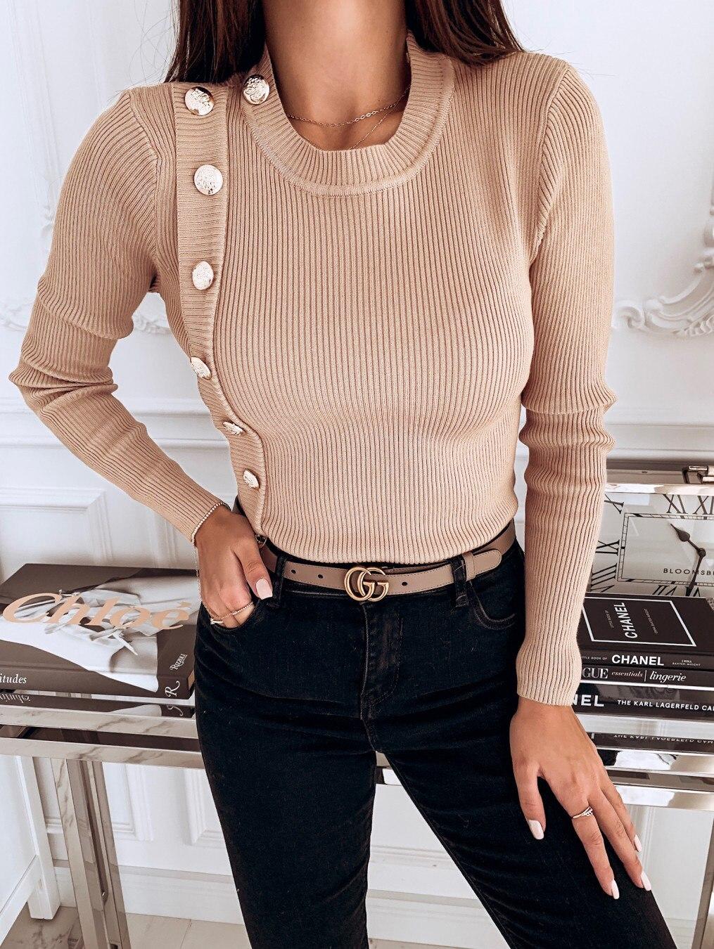 Women Sweaters 2019 Autumn Winter Casual Knitted Irregular Button Sweater Jumper Long Sleeve O Neck Pullover Slim Top Femme