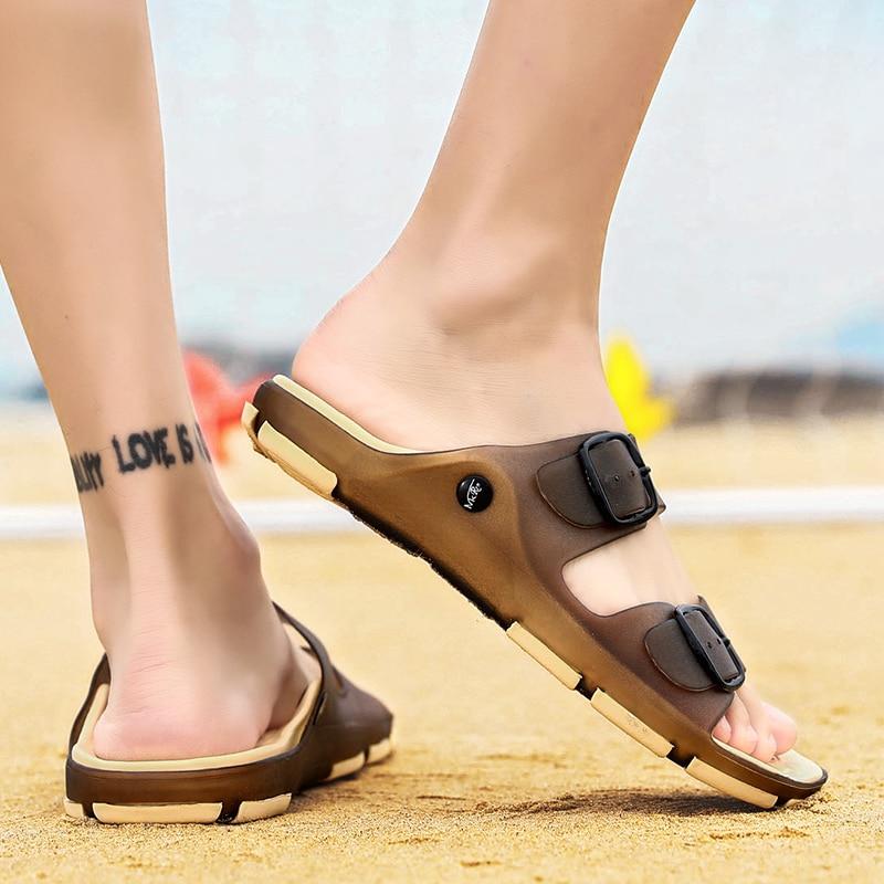 Men's Summer Slides Slippers Men Jelly Shoes Breathable Flat Slippers Water Beach Sandals Lightweight Unisex Beach Sandals 6