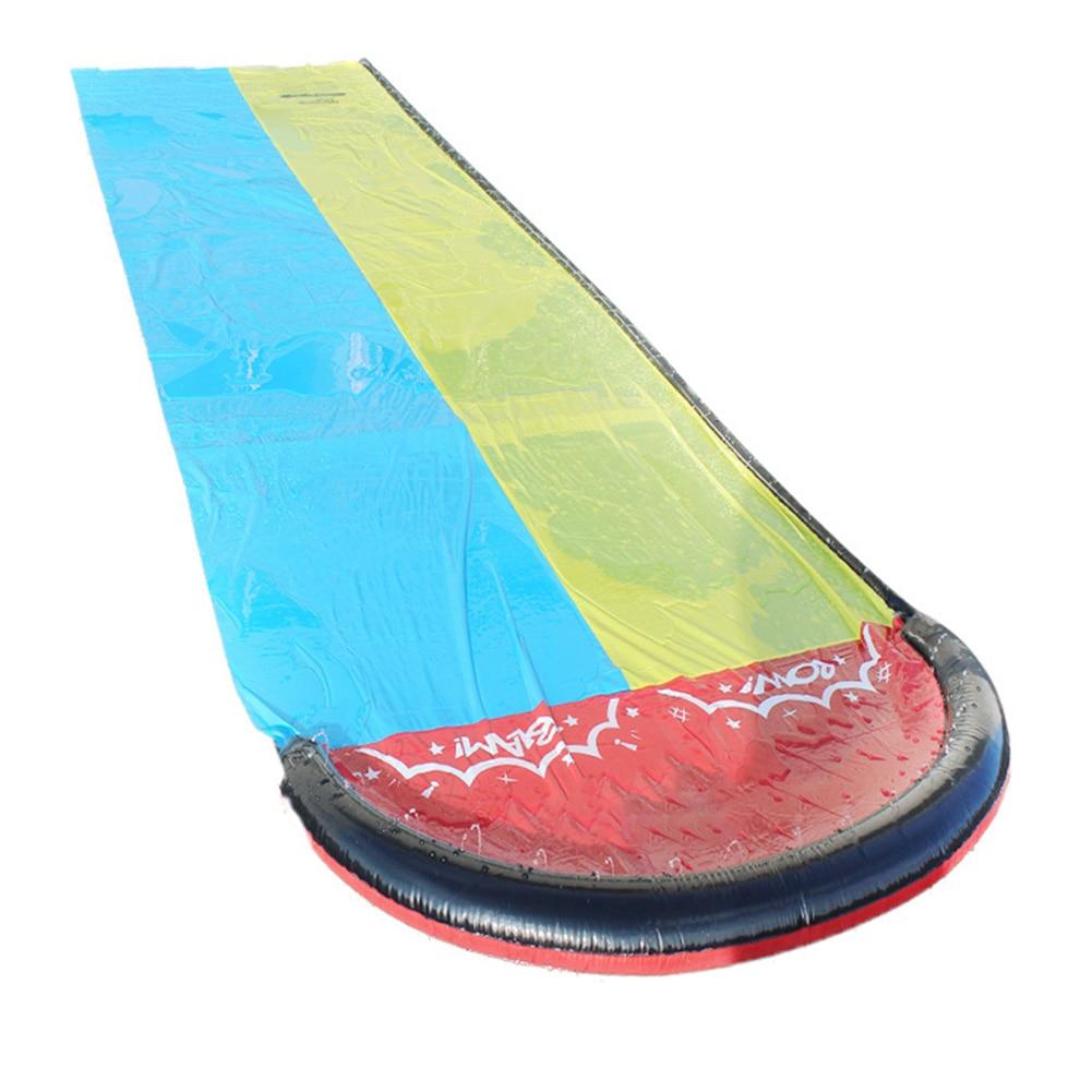 Outdoor Kids Toy Backyard Dual Racing Lanes Sprinker Party Park Summer PVC Water Slide Surfboard Splash Pool Garden Funny