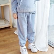 Хлопковые теплые домашние штаны для маленьких мальчиков и девочек; Повседневная зимняя теплая одежда из плотного флиса; зимние брюки;# G2