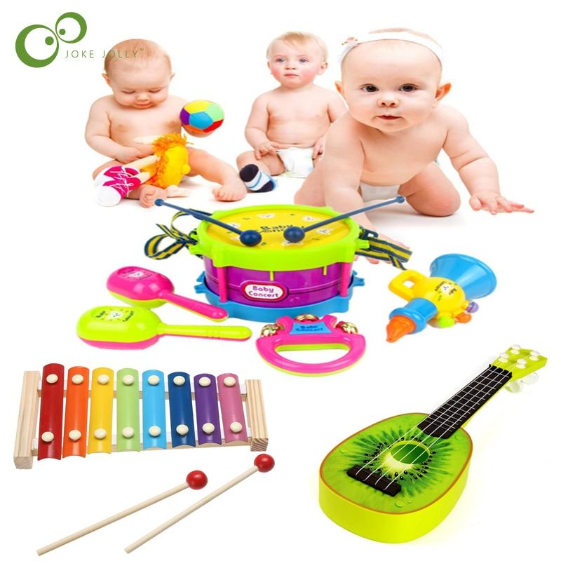 Набор музыкальных игрушек ZXH, комплект музыкальных инструментов в рулоне, барабан, гитарные инструменты, группа, детская игрушка для раннег...