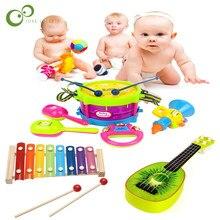 1/5 sztuk zabawka muzyczna zestaw werbel gitara instrumenty zespół zestaw dla dzieci wczesne zabawka edukacyjna prezent dziecko chwyta dzwonek ręczny zabawki muzyczne ZXH