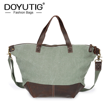 DOYUTIG Brand Men High Quality Canvas Handbag For Travel Male Large Capacity Crossbody Bag Crazy Horse Leather Casual Tote G153