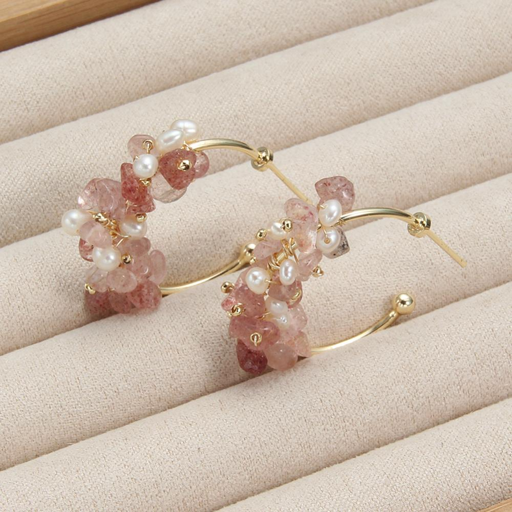 Hoop Earrings Jewelry Strawberry Crystal Green Natural Stone Baroque Freshwater Pearl Earrings For Women Gift Fashion New 2019