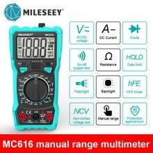 Mileseey NCV cyfrowy multimetr automatyczny zakres AC/woltomierz do prądu stałego latarka tylne światło duży ekran
