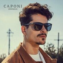 Мужские поляризованные солнцезащитные очки CAPONI, TR материал, оправа, фотохромные Винтажные Солнцезащитные очки, классический стиль, черные оттенки, мужские UV400, BS602
