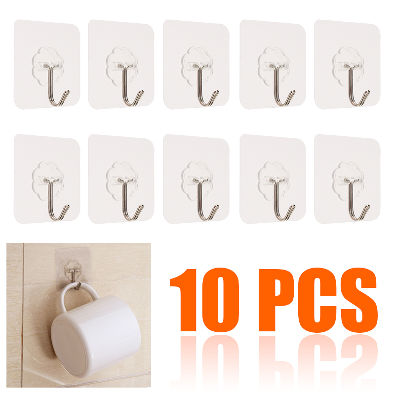 10pcs PVC Clear Seamless Self Adhesive Wall Hooks Maximum Load 15kg Kitchen Bathroom Strong Sticky Nail-free Nano Hanger Sucker