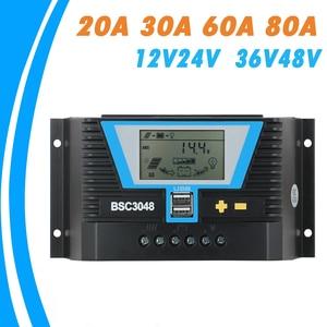 Image 1 - 20A 30A 60A 80A PWM שמש בקר 12V 24V 36V 48V תאורה אחורית LCD ליתיום סוללה רגולטור של אור הכפול זמן שליטת USB
