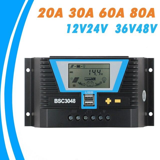 20A 30A 60A 80A PWM שמש בקר 12V 24V 36V 48V תאורה אחורית LCD ליתיום סוללה רגולטור של אור הכפול זמן שליטת USB