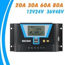 Controlador Solar PWM 20A 30A 60A 80A 12V 24V 36V 48V retroiluminación Regulador de batería de litio LCD de Control de luz de doble horario y USB