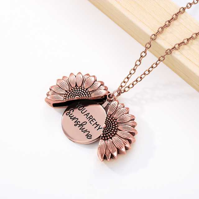 Sunflower Necklaces For Women Stainless Steel Open Locket You are My Sunshine Sunflower Necklace Birthday Gift Boho Jewelry BFF 4