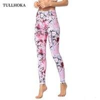 Tullhoka Women Fitness Yoga Pants Slim High waist Sport Leggings Gym Elastic Printed Long Tights for Running