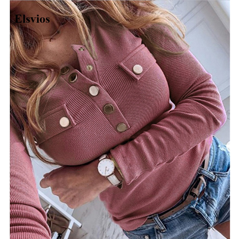 5XL Elegant Spring Metal Button Shirt Blouse Solid Autumn Long Sleeve Ribbed Blouses Women Sexy V-Neck Slim Pullover Tops Blusas
