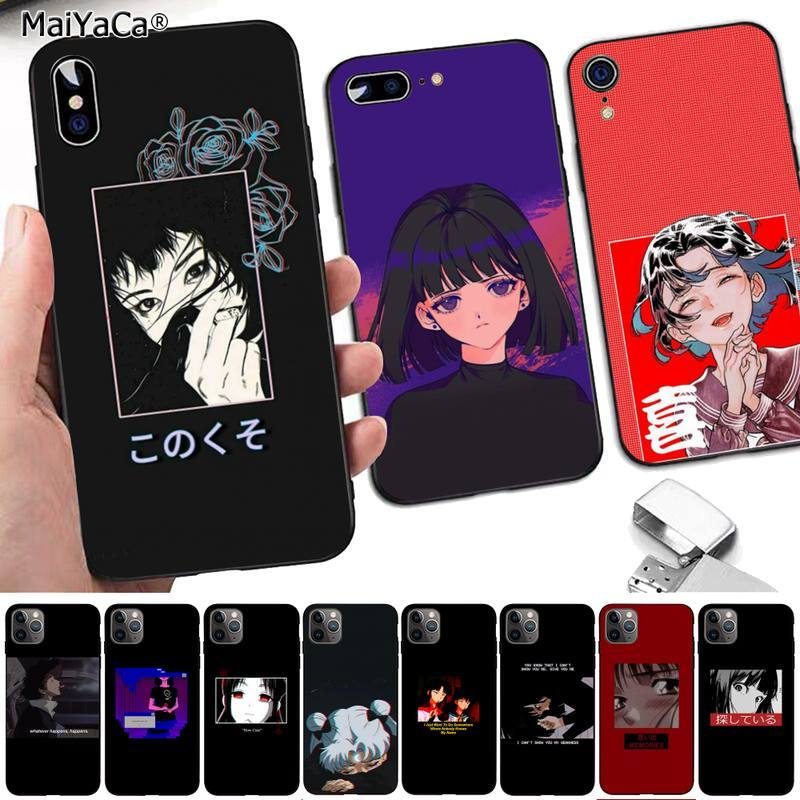 MaiYaCa Sad Anime Vaporwave Aesthetic DIY phone Case cover Shell for iPhone 8 7 6 6S Plus X 5 5S SE 2020 XR 11 pro XS MAX