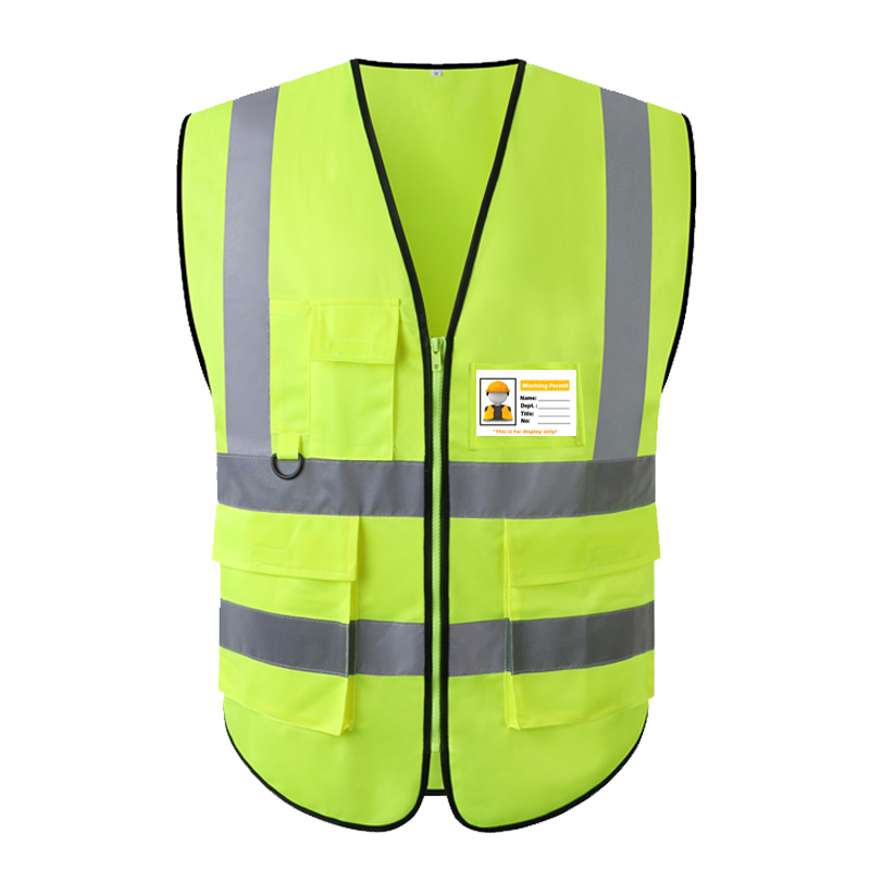 Two Tone Yellow Blue Reflective Vest With Zipper and Pockets Hi Vis Safety Work Gilet For Men And Women