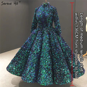 Image 2 - สีเขียวคอมุสลิมข้อเท้าความยาวชุดราตรี 2020 แขนยาว Sequined Sparkle Gowns อย่างเป็นทางการ Serene Hill HA2085