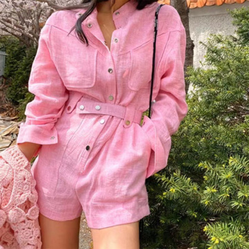 High Quality New Women Fashion Romper Casual Linen Loose Playsuits Romper Work Clothes Beach Short Jumpsuit 2020 Summer