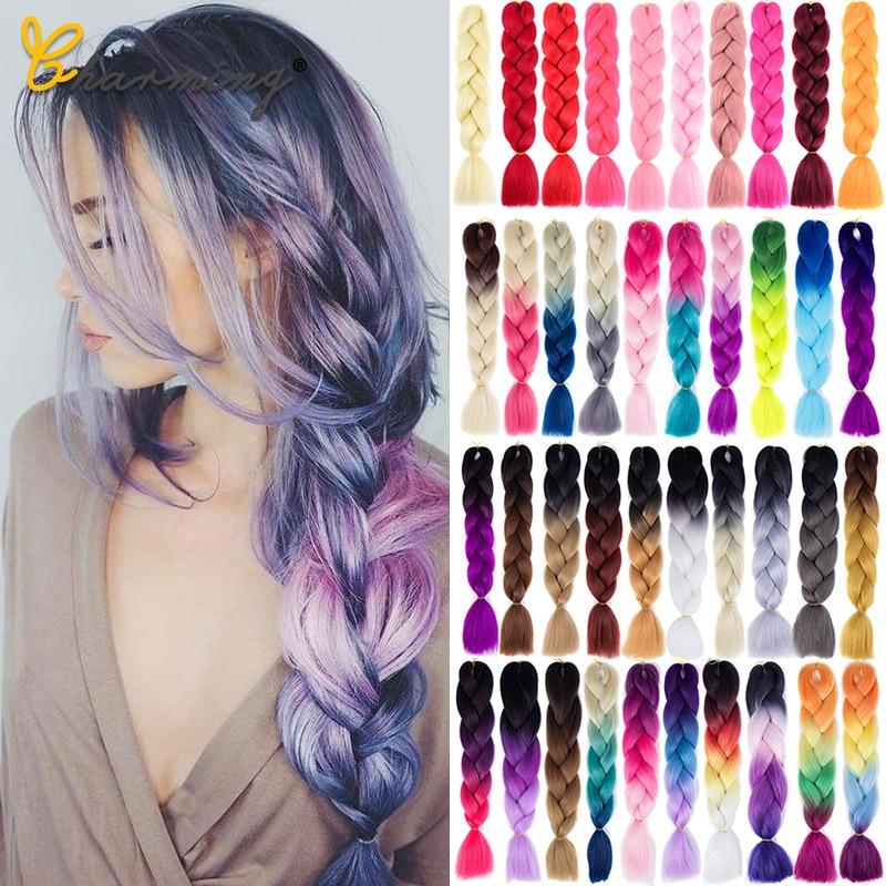 CHARMING Jumbo Braids Long Ombre Jumbo Synthetic Braiding Hair Crochet Blonde Pink Blue Grey Hair Extensions African Viscera