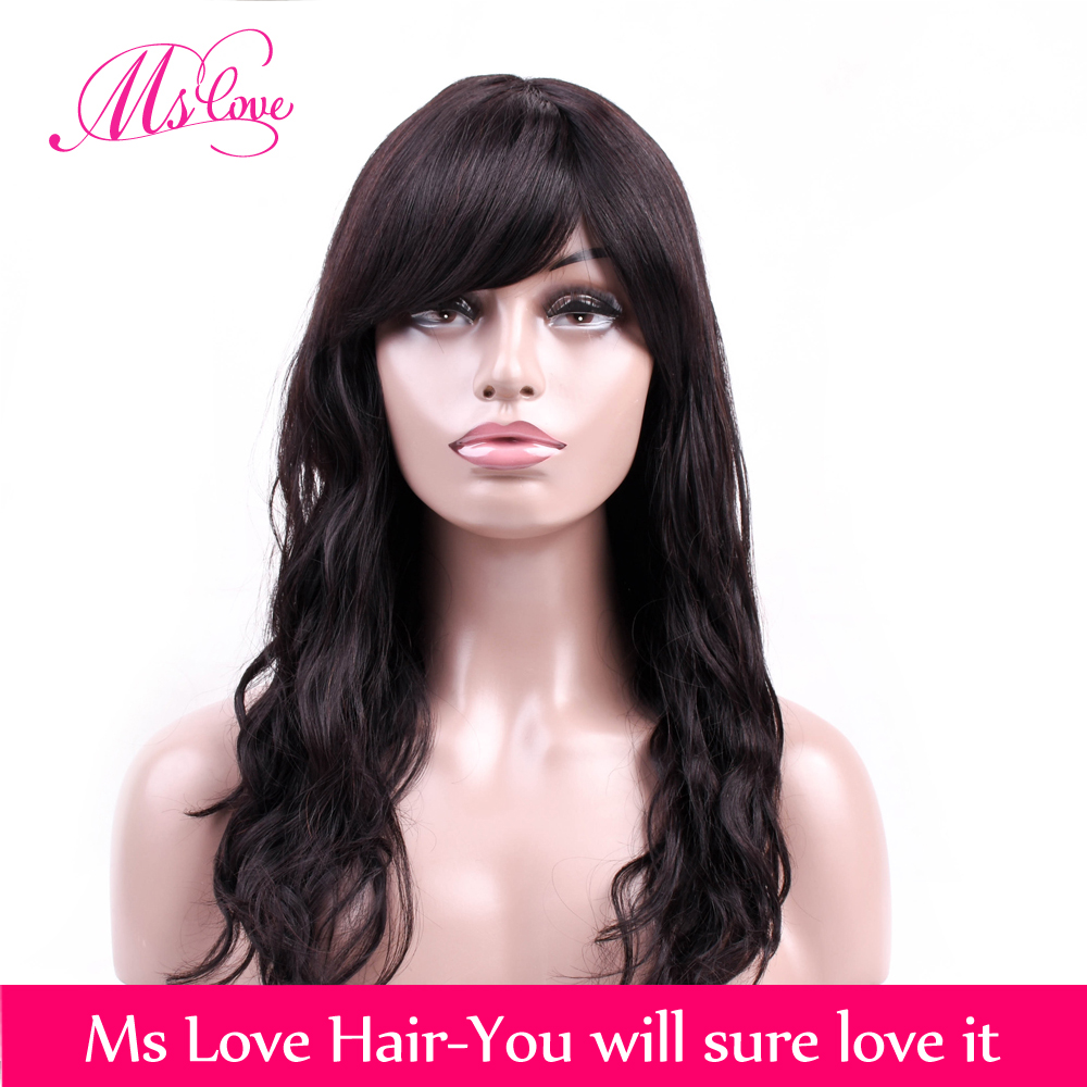 Human Hair Wigs Body Wave Long Wig 18 Inch Brazilian Wigs For Black Women Non Remy Hair Natural Black 1b# Mslove
