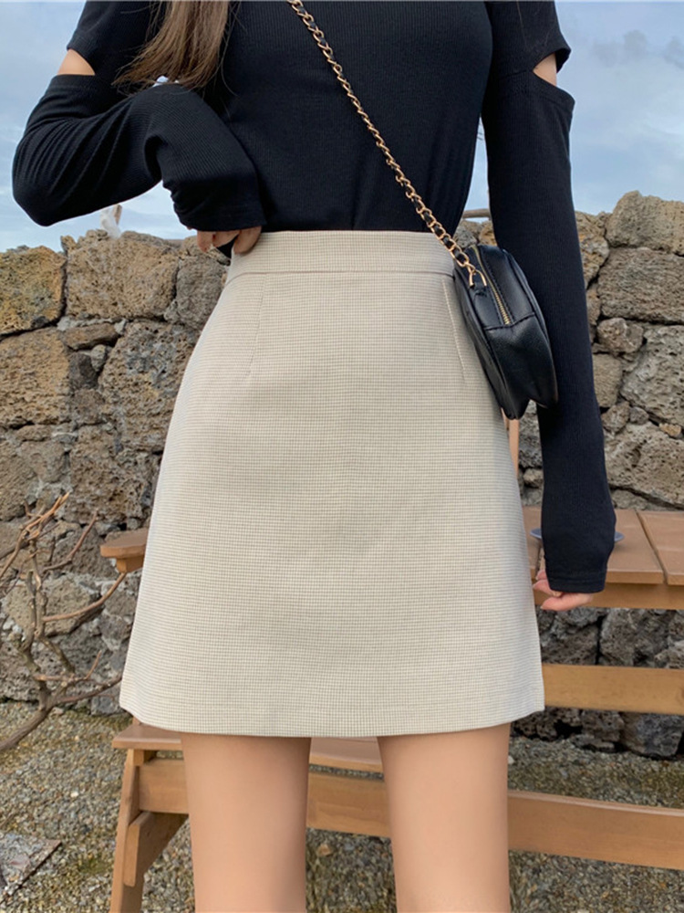 A- Line Skirt Children 2019 New Style Autumn High-waisted Slim Fit Solid Color Skirt Slimming Anti-Exposure Short Skirt Fashion