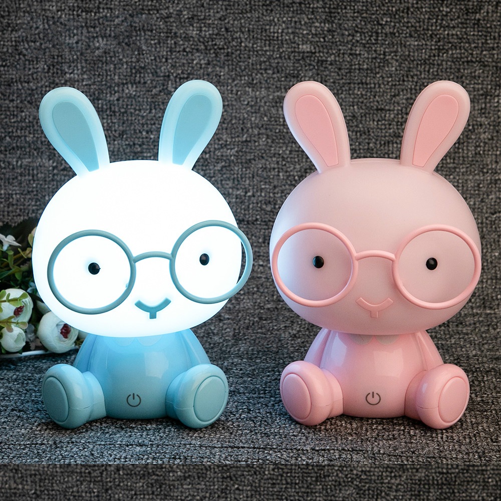Cute Baby Rabbit Night Light Lamp Study Bedroom Led Nightlight Children Christmas Gift Bedside Decor Kids Glasses Bunny Lights