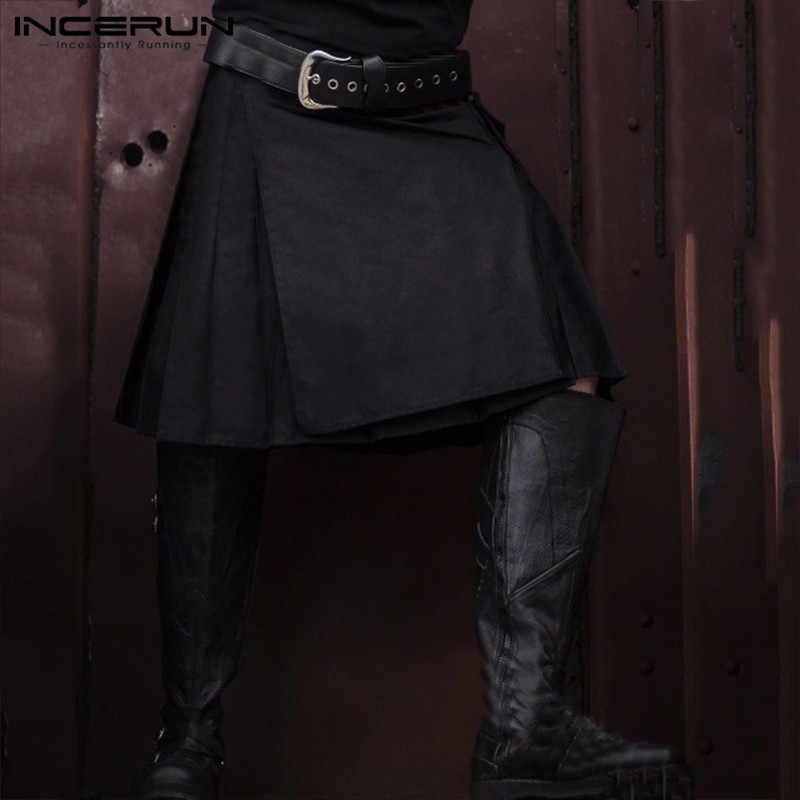 Incerun Schotse Kilt Mannen Traditionele Geplooide Rokken Gothic Punk Style Solid Schotse Kilts Broek Mannen Vintage Rokken 2020
