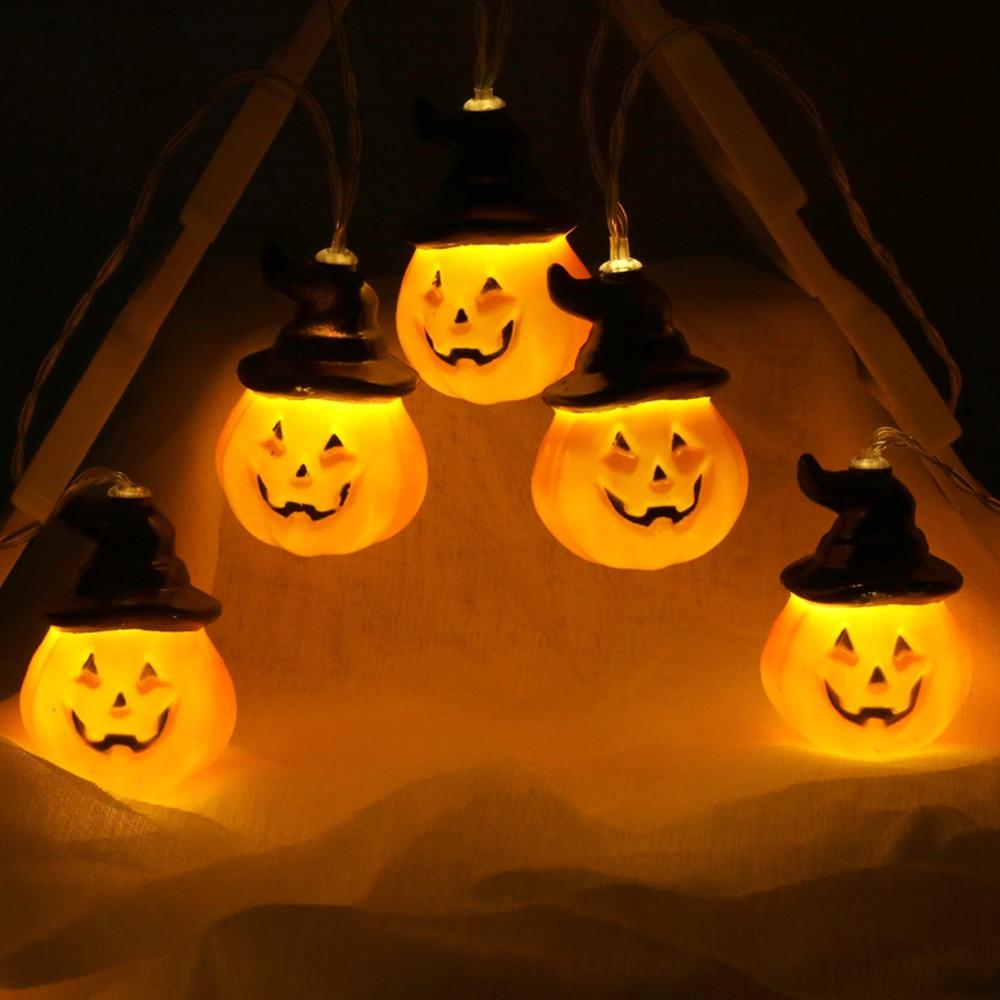 2019 New 1 Set Pumpkin 10 LED String Lights Halloween Decoration Lights Warm White Halloween Home Decoration Accessorie