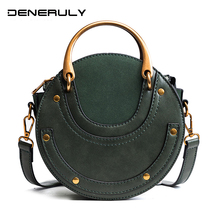 2019 Sling Round Leather Bags Women Rivet Luxury Handbags New Elegant Faux Suede Evening Bag Brand Vintage Sac Femme