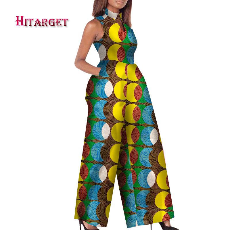 2019 African Print Women Jumpsuit O-Neck Sleeveless Autumn Sexy Romper Wide Leg Pants African Ladies Jumpsuits Rompers WY2244