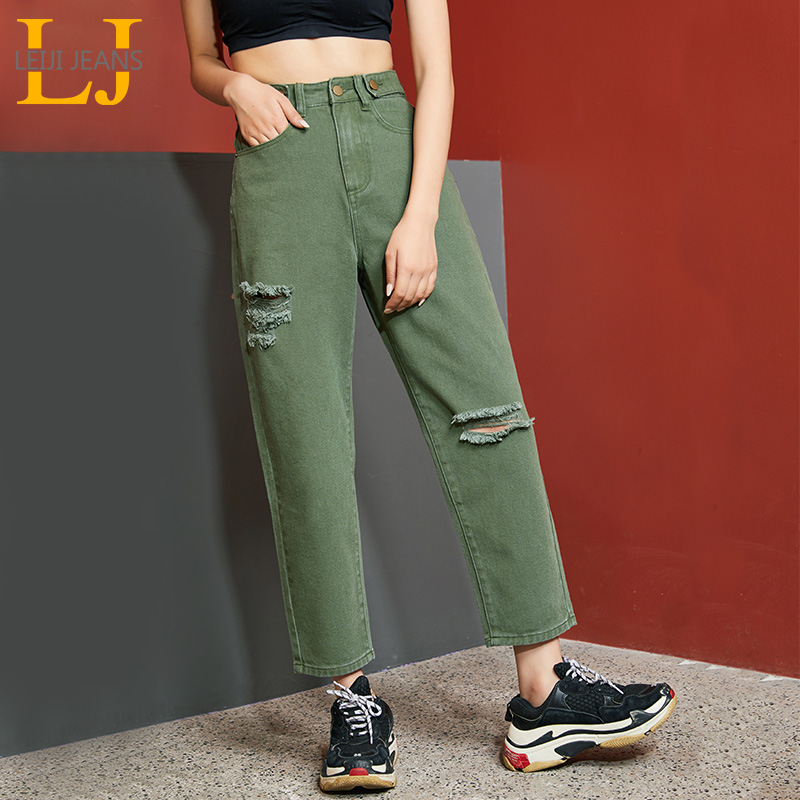 LEIJIJEANS 2019 Plus Size Women's High Waist Loose Jeans Fashion Trend Hole Ladies Jean Three Color Optional Women Ripped Jeans