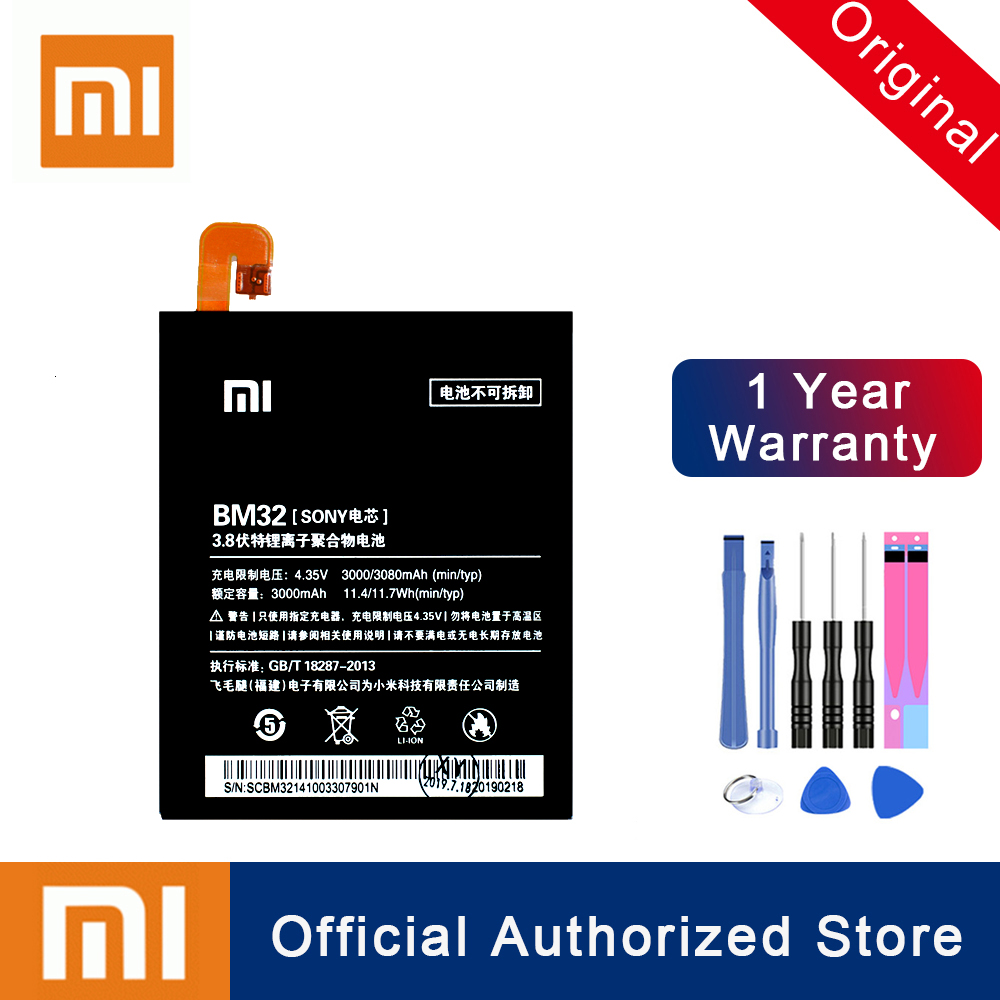 Xiao <font><b>Mi</b></font> 100% Original Replacement <font><b>Battery</b></font> BM32 For <font><b>Xiaomi</b></font> <font><b>Mi</b></font> <font><b>4</b></font> M4 Mi4 Real Capacity Rechargeable Phone Batteria Akku 3080mAh image