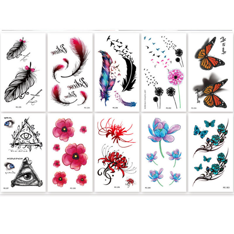New Blue Feather Arm Back Temporary Stickers Female Men Couple Rose Flower Disposable Tattoo Stickers Fashion Body Art