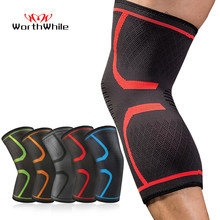 WorthWhil1 PC Elastic Knee Pads Nylon Sports Fitness Kneepad Fitness Gear Patella Brace Running Basketball Volleyball Support(China)
